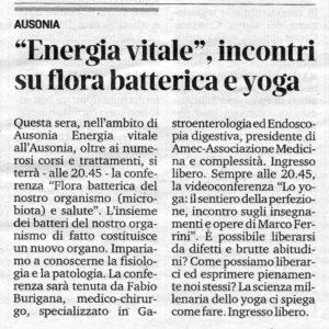 """Dal Piccolo di Trieste: """"Energia vitale"""", incontri su flora batterica e yoga."""